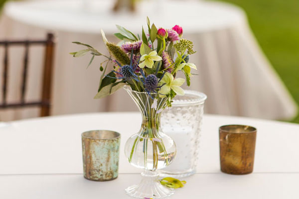 Table with flower centerpiece, Sunstone Winery and Villa, Santa Ynez