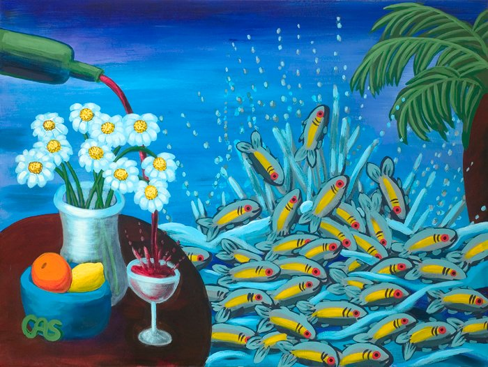 "Carol Spils, Days of Wine and Daisies, 36""x42"" Acrylic"