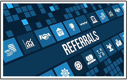 Referrals Concept Image With Business Icons and Copyspace