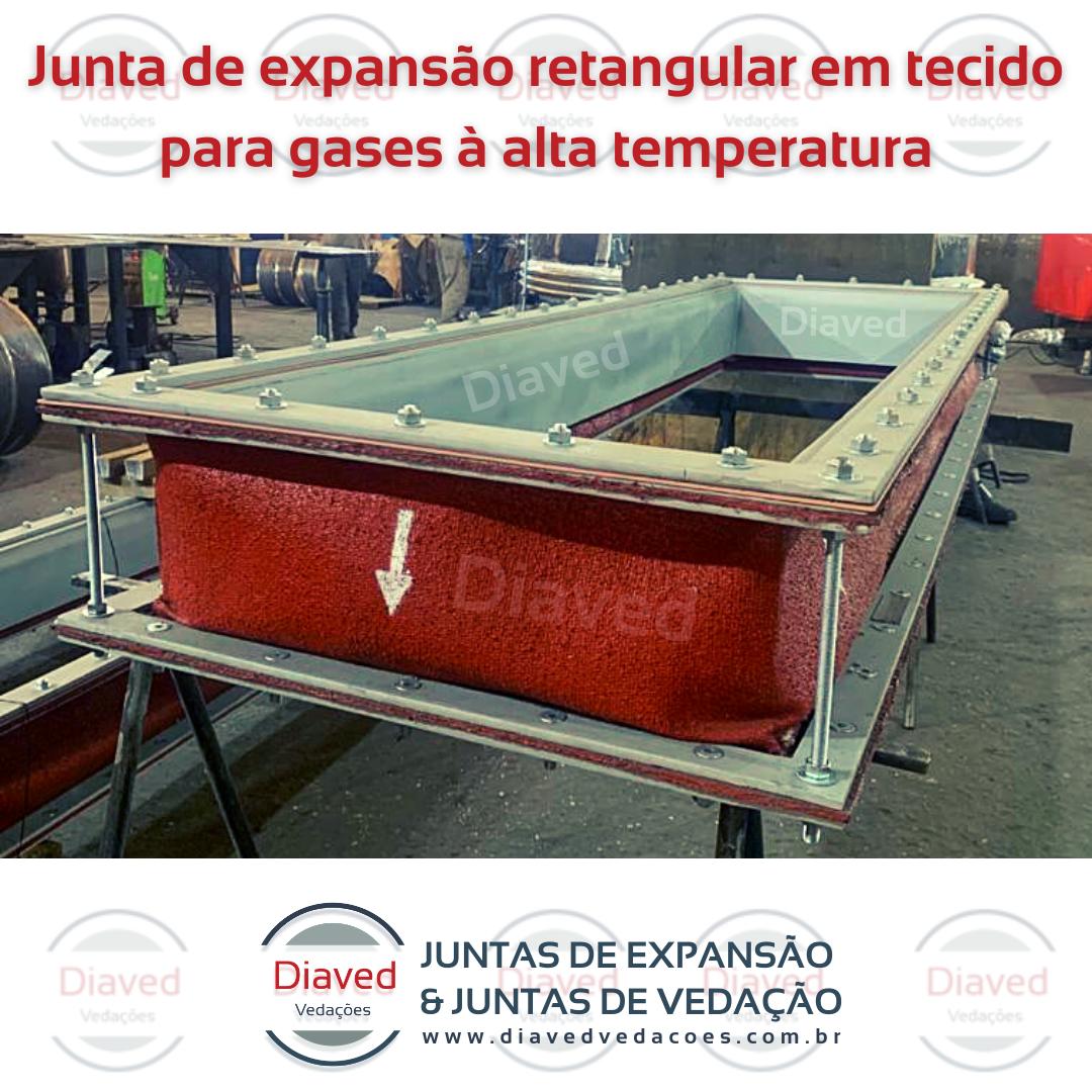 Junta de expansão retangular em tecido para gases à alta temperatura