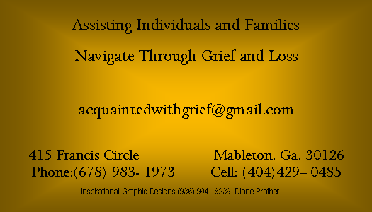 Back Business Card Grief Counselor