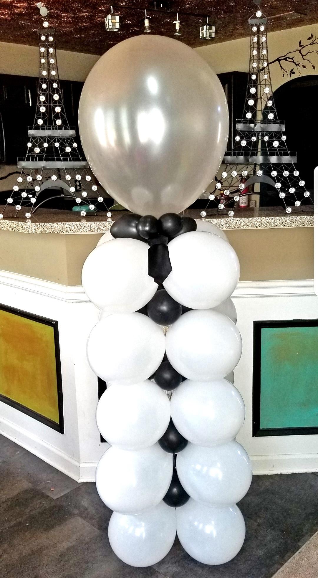 Black and White Balloon Column