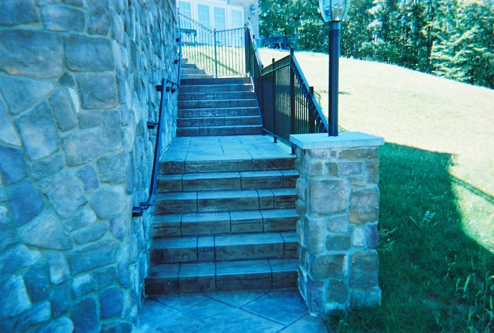Concrete steps with railing