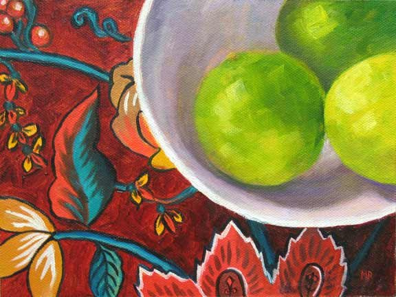 """Limes In A Bowl - 6""""x 8"""" Oil on Canvas Panel  SOLD"""