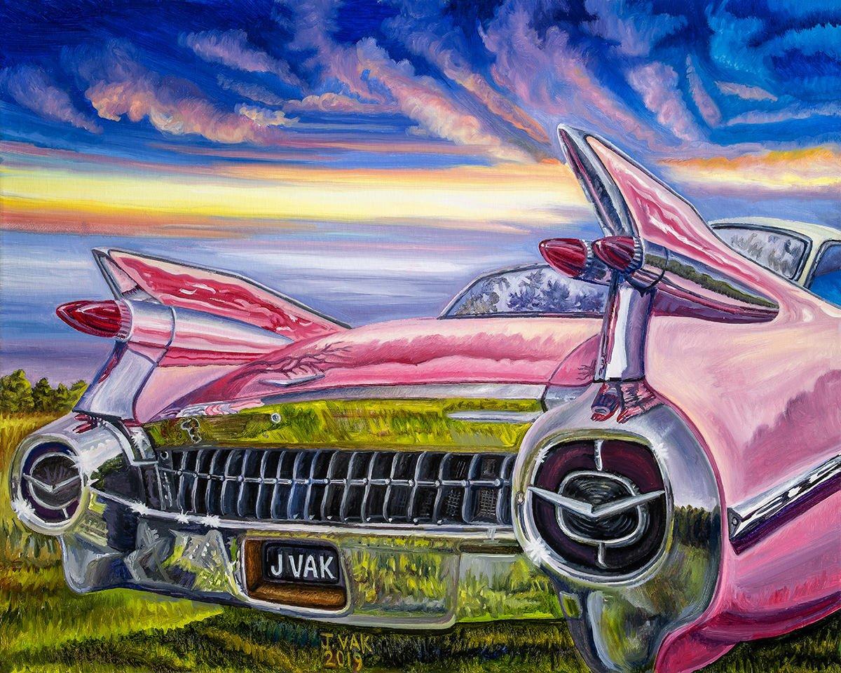 1959 Pink Cadillac 20 X 24 Original Oil     $2500      2019