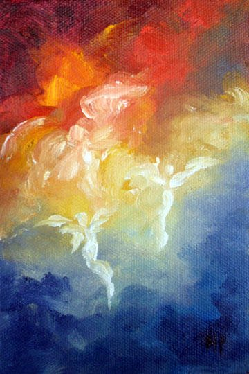 """Angels Descent - 4""""x6"""" Oil on Stretched Canvas  SOLD"""