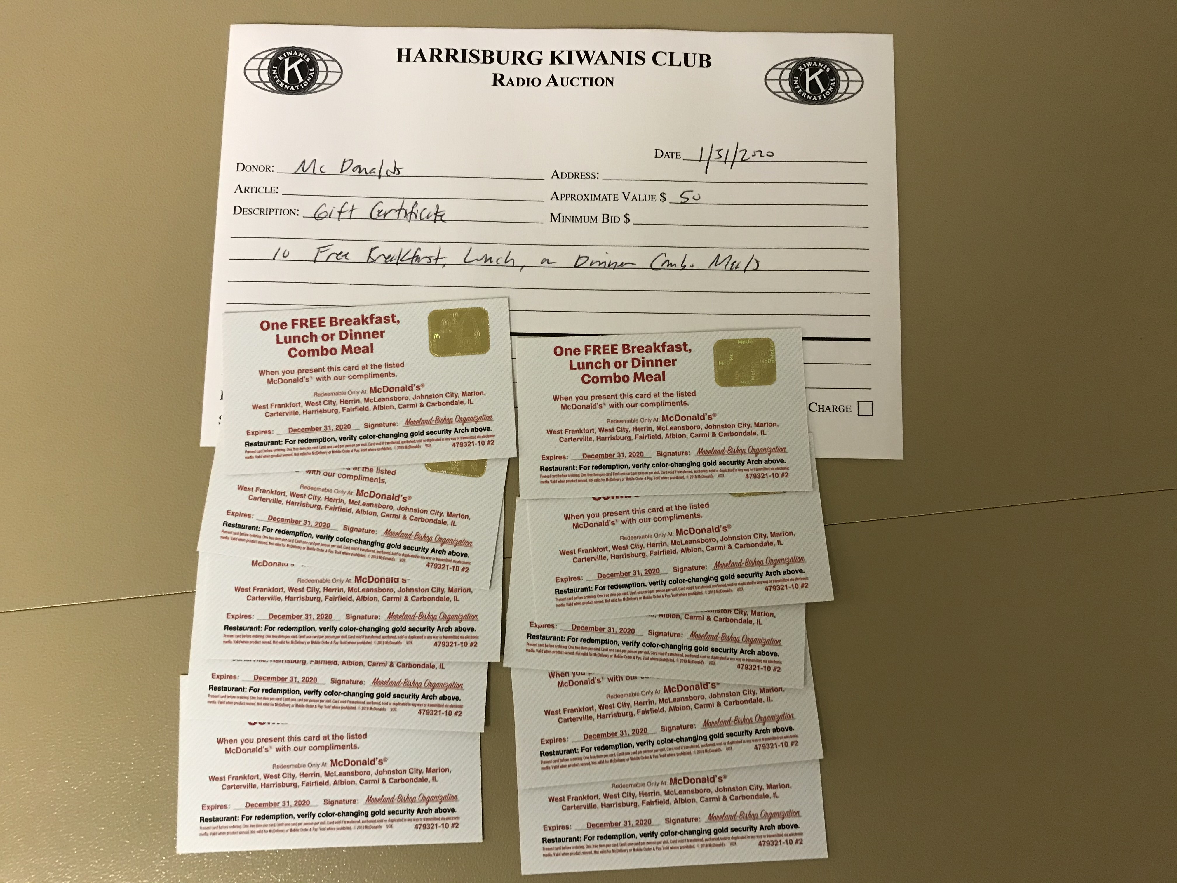 Item 331 - McDonalds 10 Gift Certificates for Combo Meals