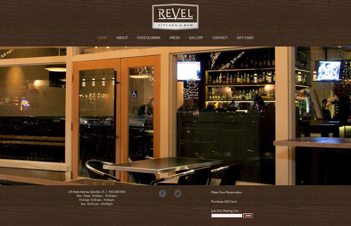 Revel Kitchen & Bar Website