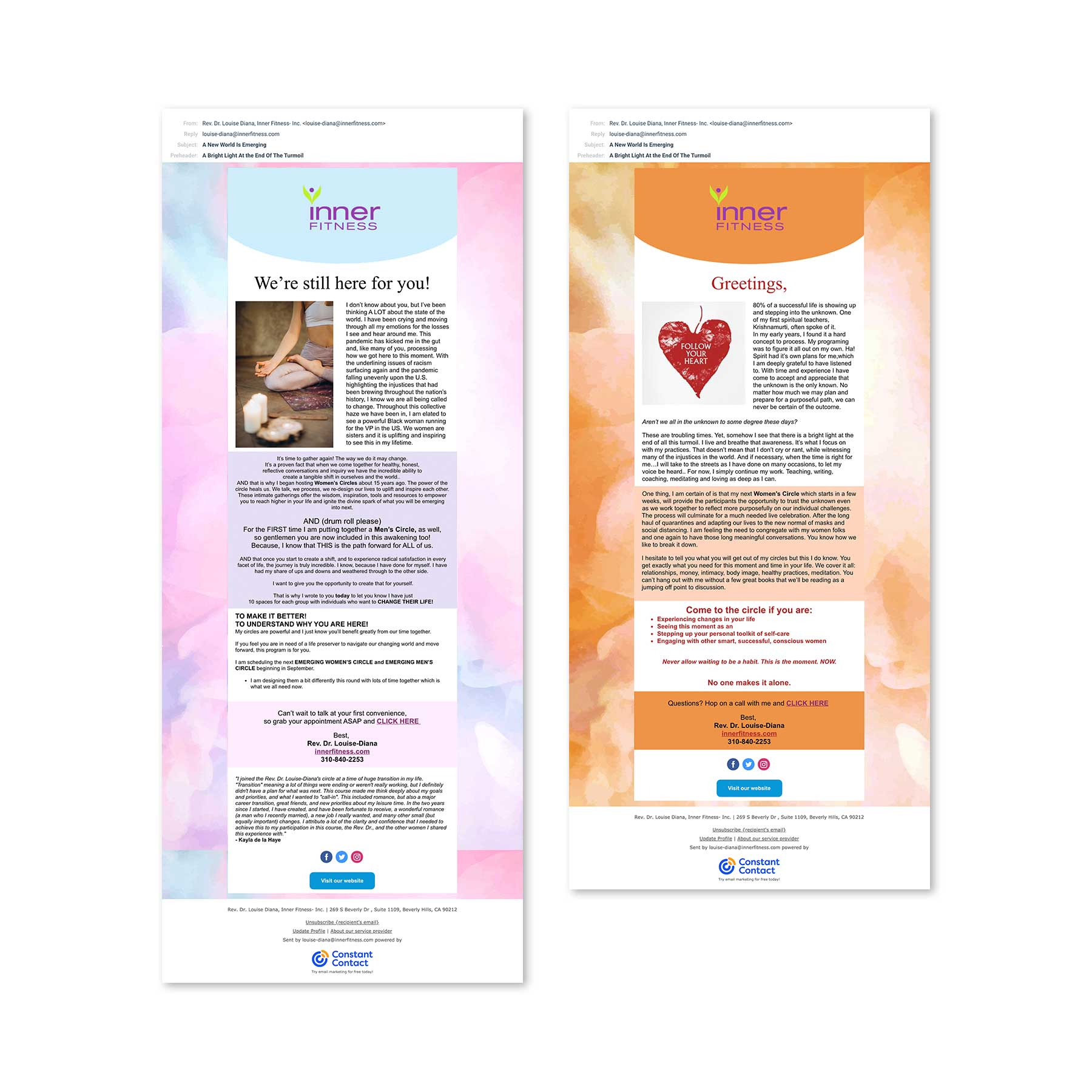 Inner Fitness Yoga Constant Contact Ads