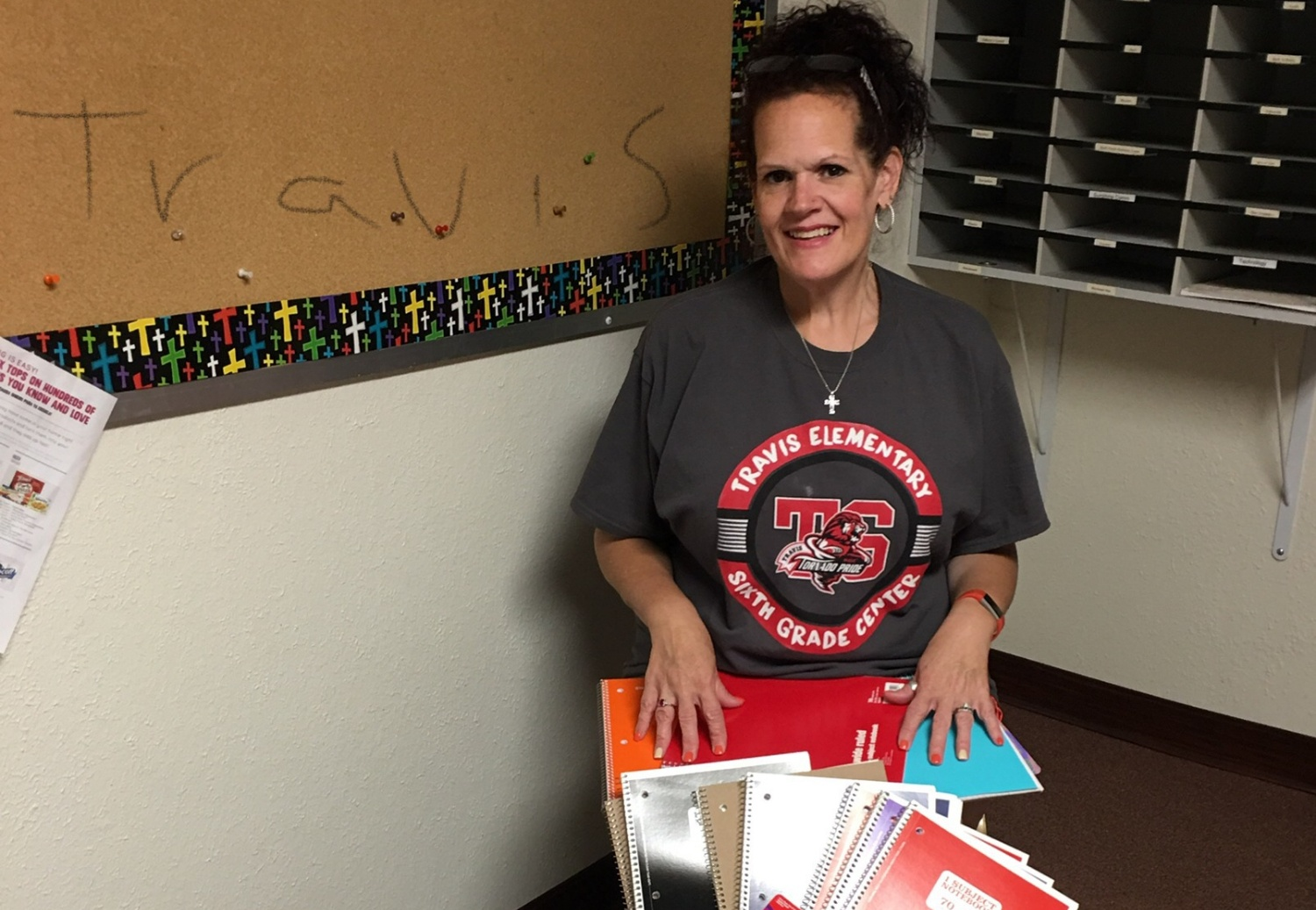 Travis Teacher, Lisa Russell, picks up all the school supplies that Westview UMC collected for the students.