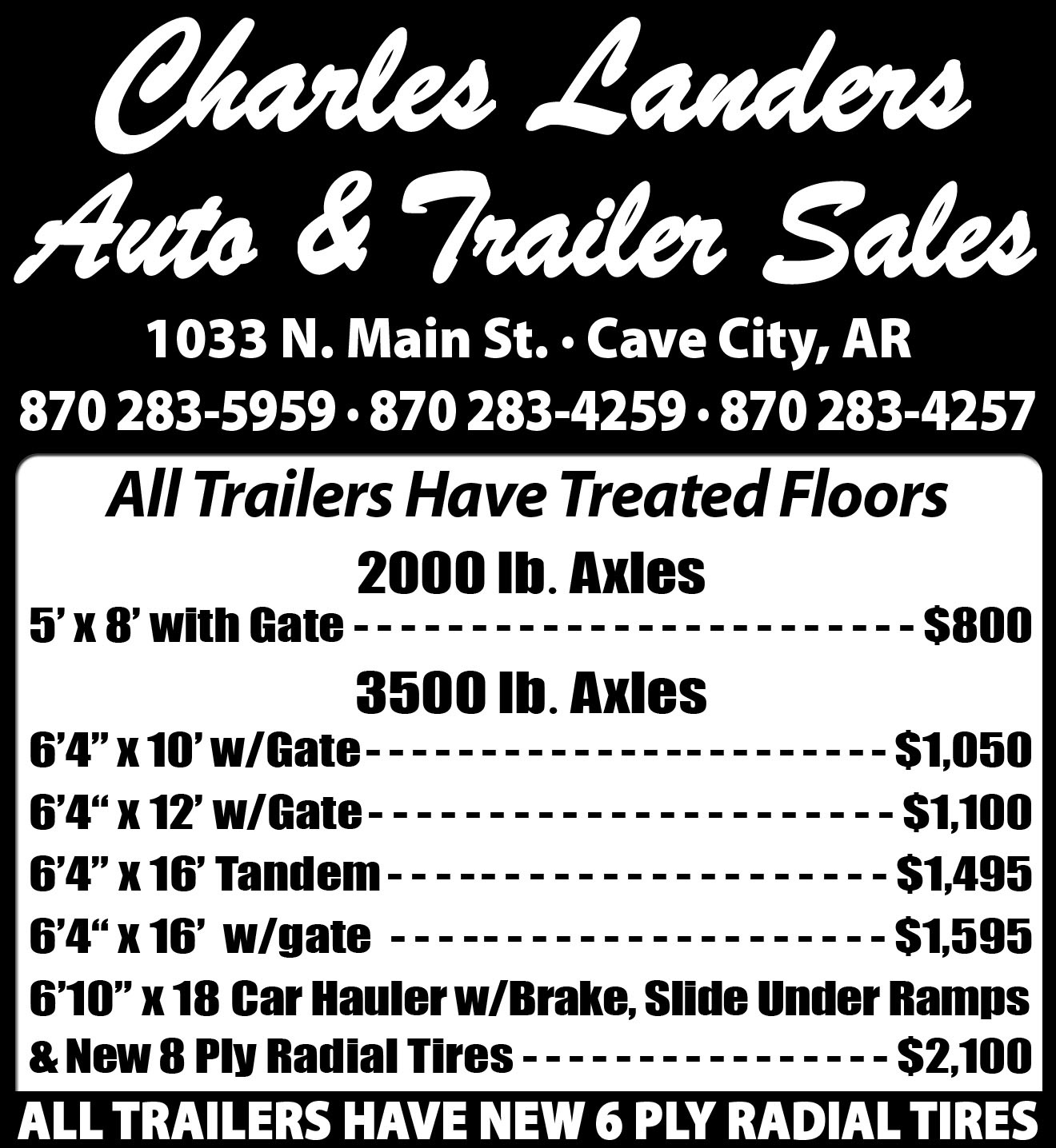 Landers Auto Sales >> Charles Landers Auto And Trailer Sales Trailers