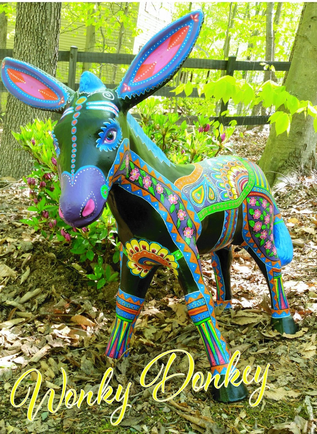 Wonky Donkey, painted by Cheryl Falkenburry, was auctioned to help raise money for Green Dogs Unleashed a rescue in Troy, VA.