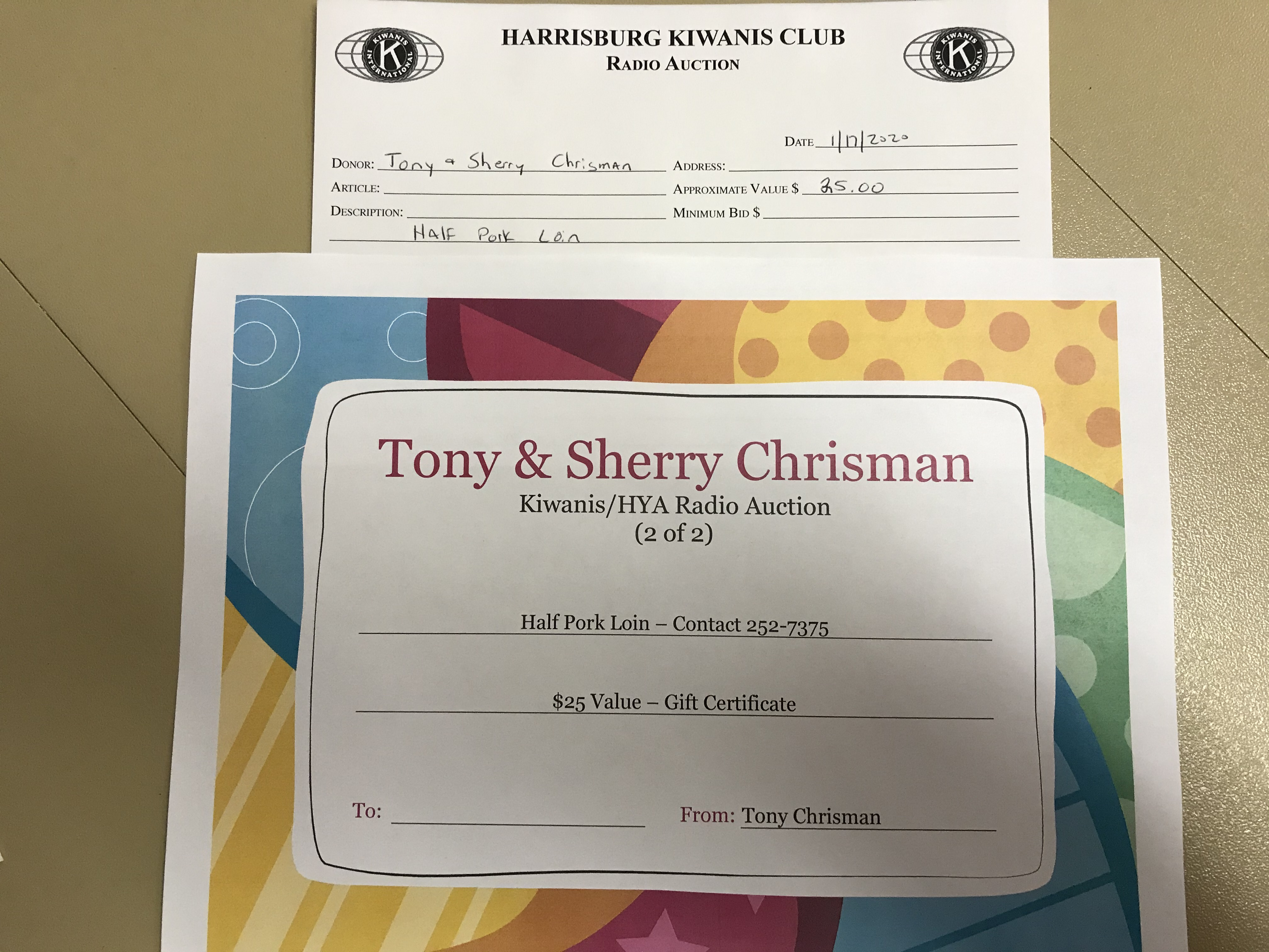 Item 207 - Tony & Sherry Chrisman Half Pork Loin