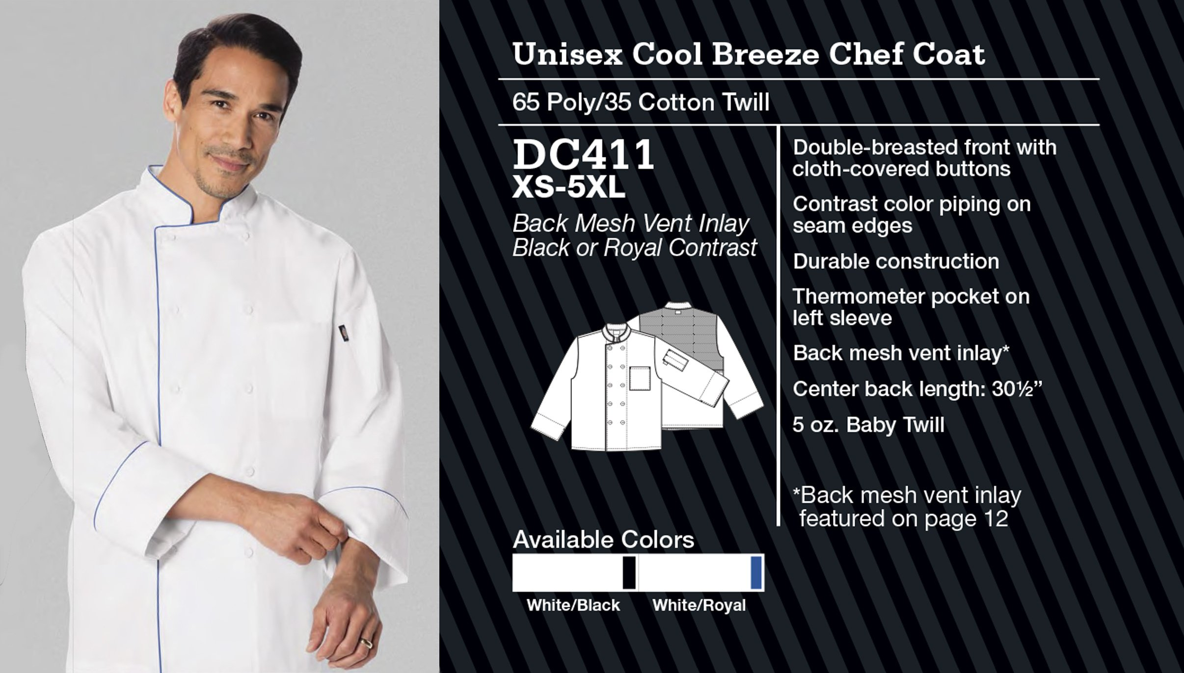 Abrigo de Chef Unisex Cool Breeze. DC411.