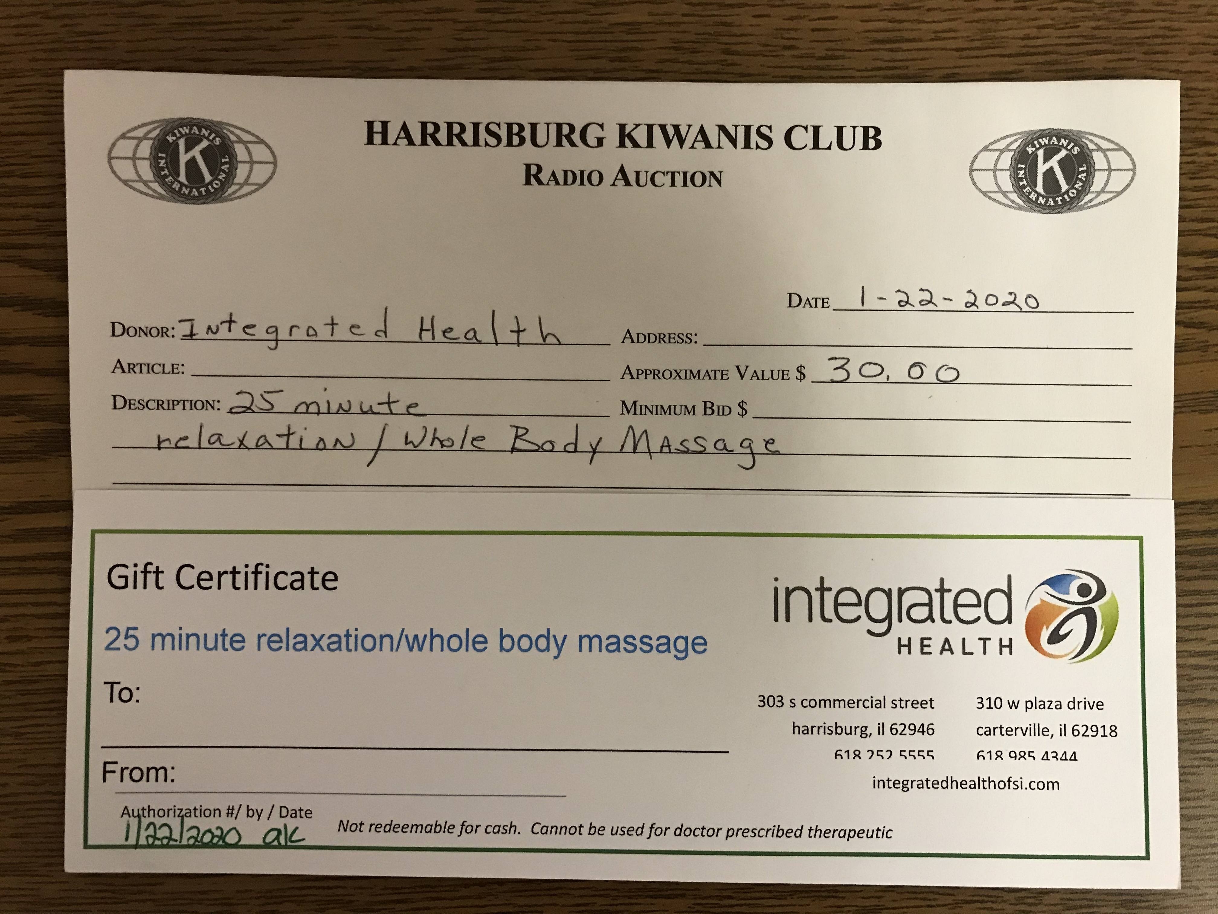 Item 133 - Integrated Health 25 Minute Relaxation / Whole Body Massage