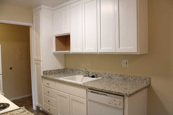 It also has a dishwasher, new cabinets, and a microwave shelf