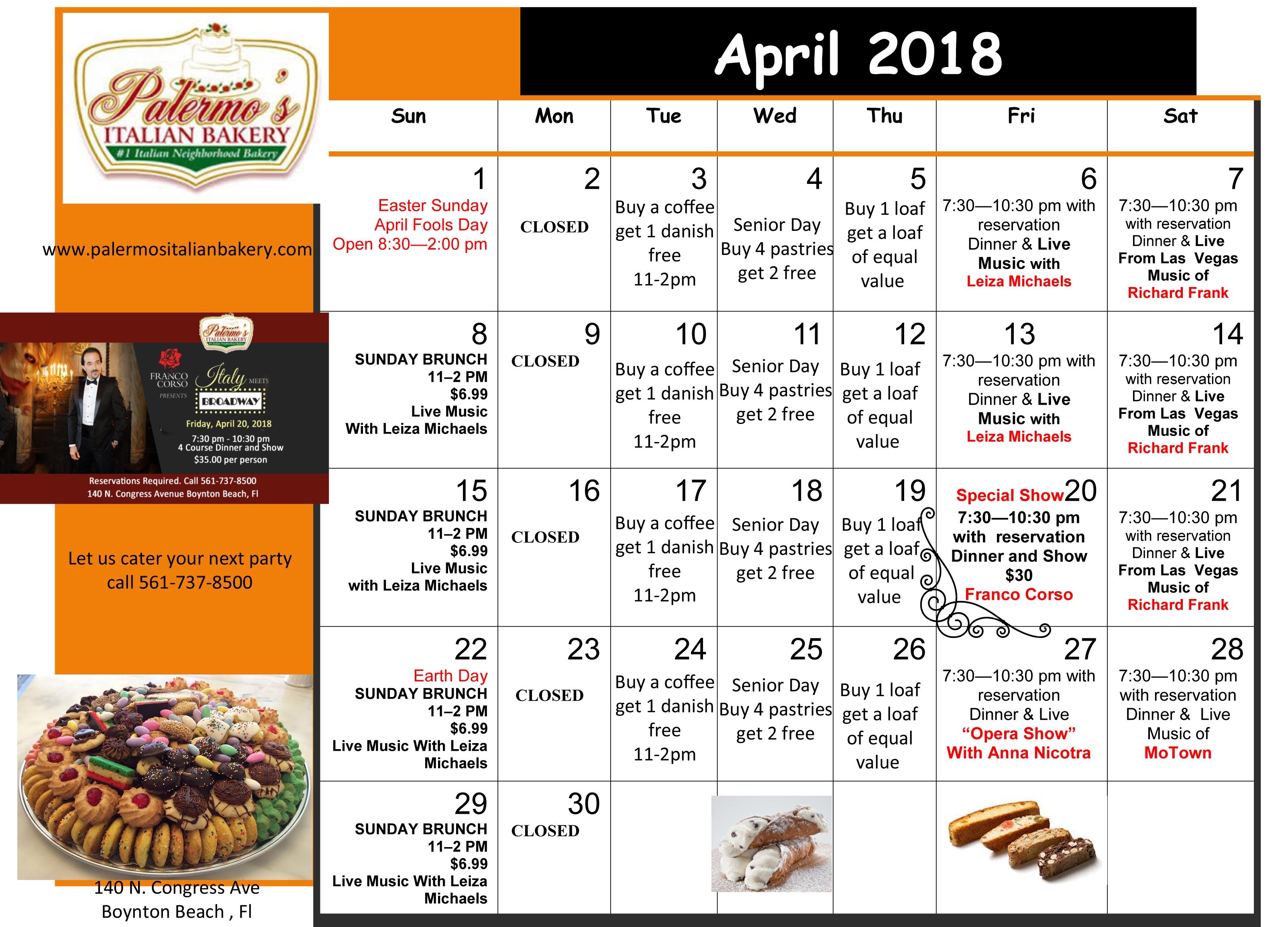 April Performance Schedule