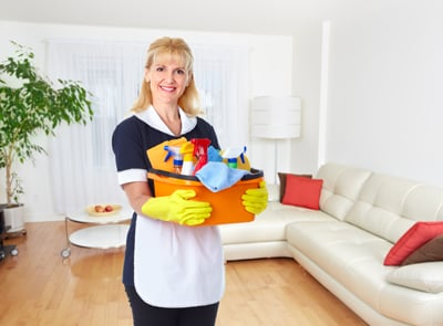 Maid Woman With Cleaning Tools