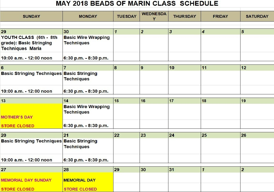 Beads of Marin, May 2018 Class Schedule