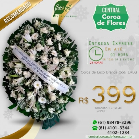 Coroa de Flores de Luxo Branca
