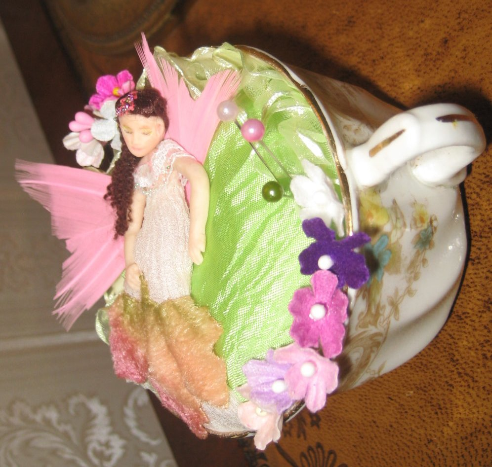 VINTAGE TEACUP PINCUSHION SLEEPING FAIRY