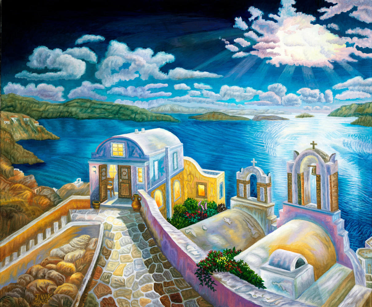 Santorini by Moonlight       30x36 Original         $3850           2008
