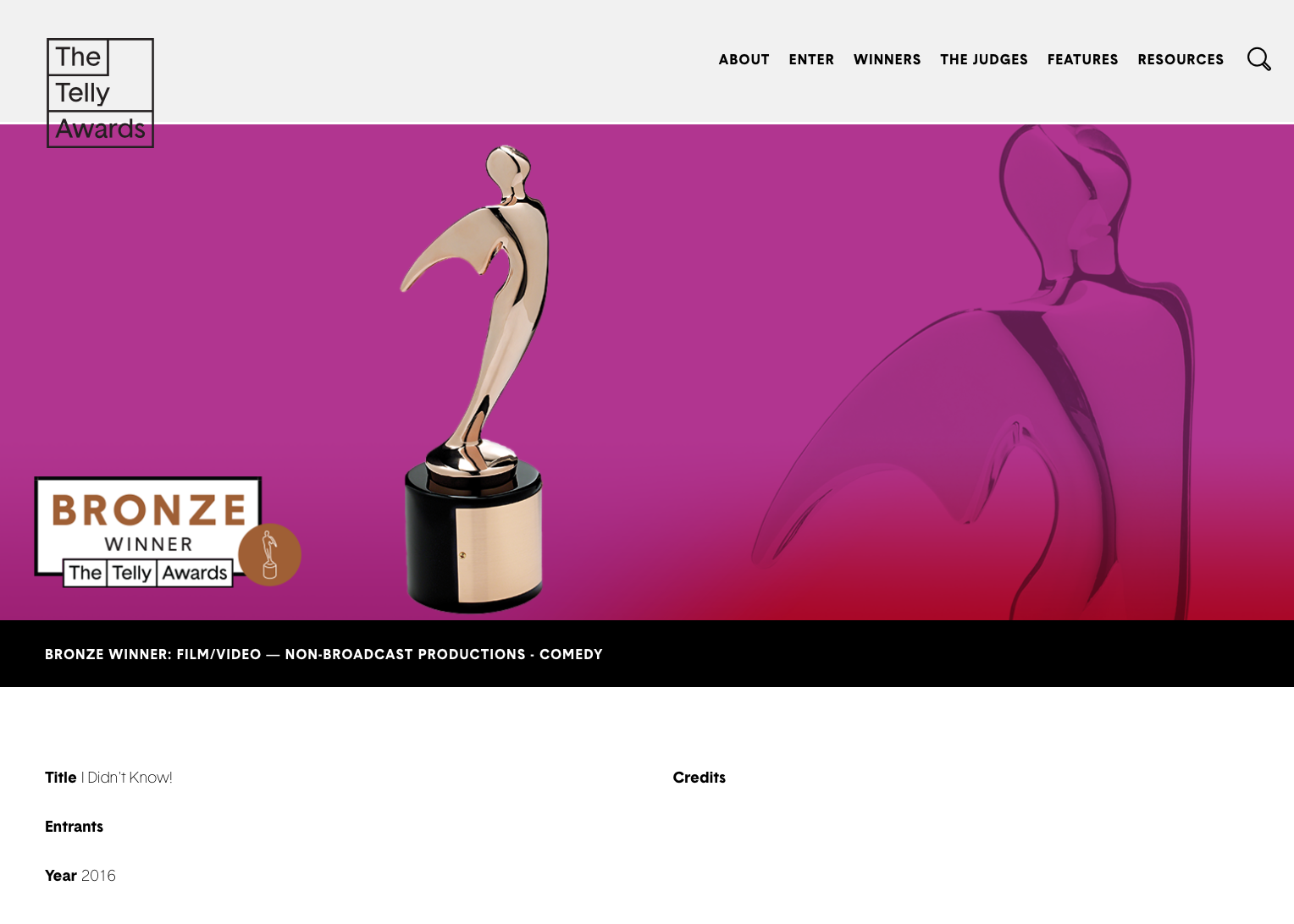 """I Didn't Know!"" was a Bronze Film/Video Telly Award Winner"