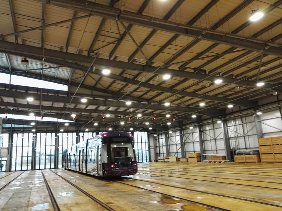 Flexity tram in Starr Gate tram depot