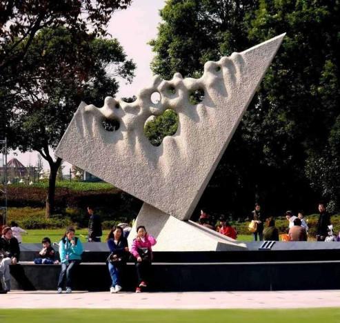 Towards Infinity - Kinetic clock - Grey granite,  600x490x450 cm.- Shanghai Sculpture Park - China