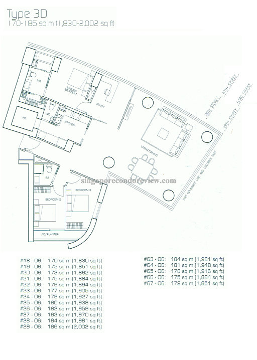 floor plan for stack 6, higher floors 1,800-2,000 sqft