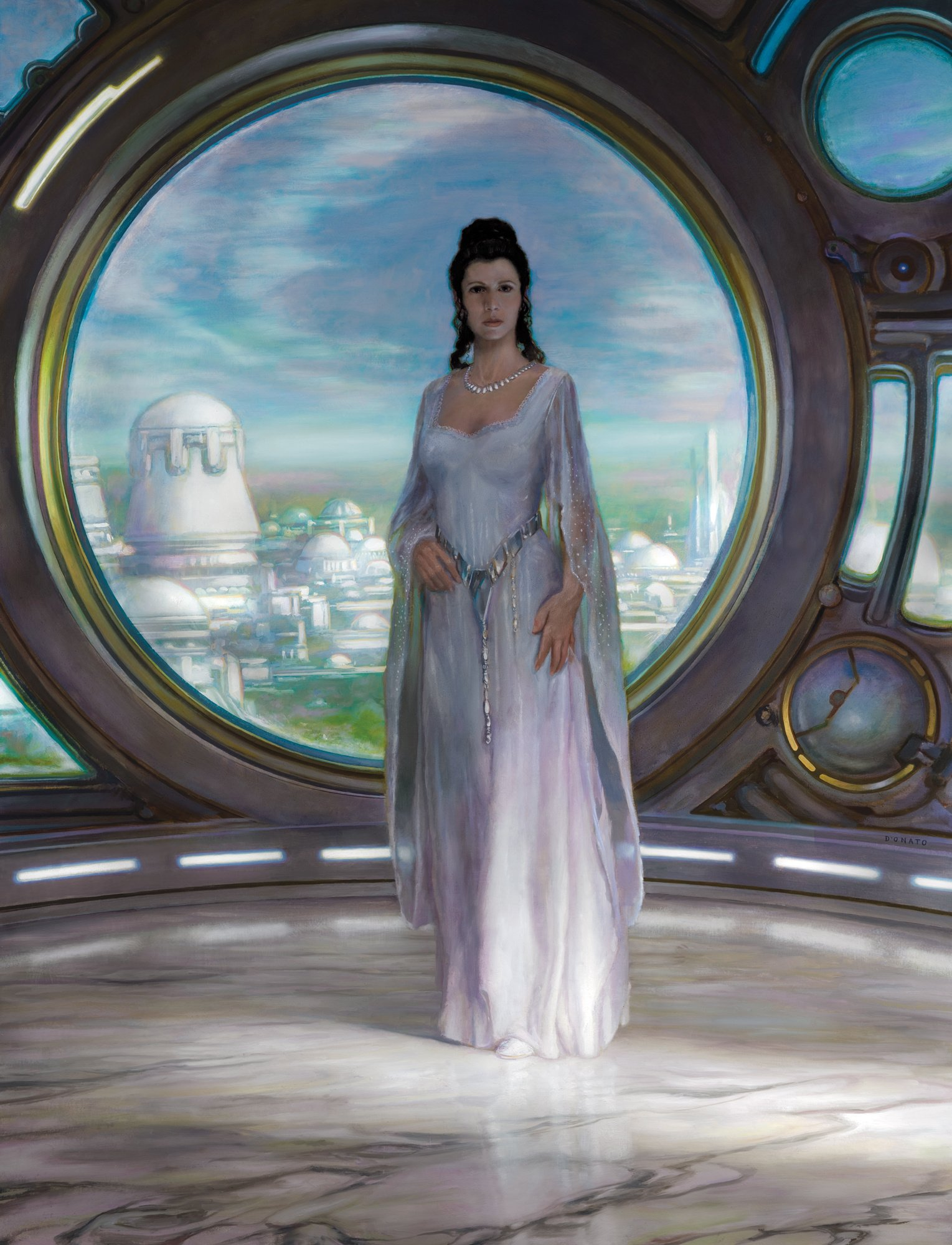 "Senator Leia Organa 48"" x 36""  Oil on Panel 2009 created for a special book and print project with Lucas Film collection of George Lucas"