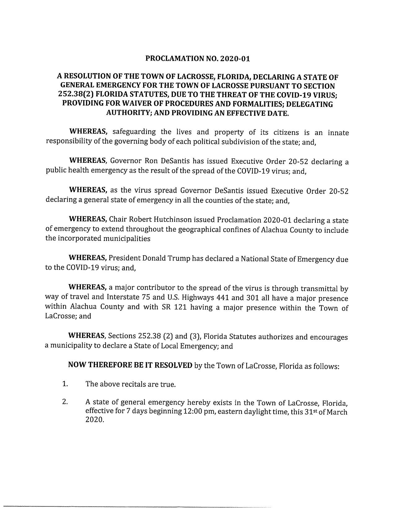 proclamation 2020-01