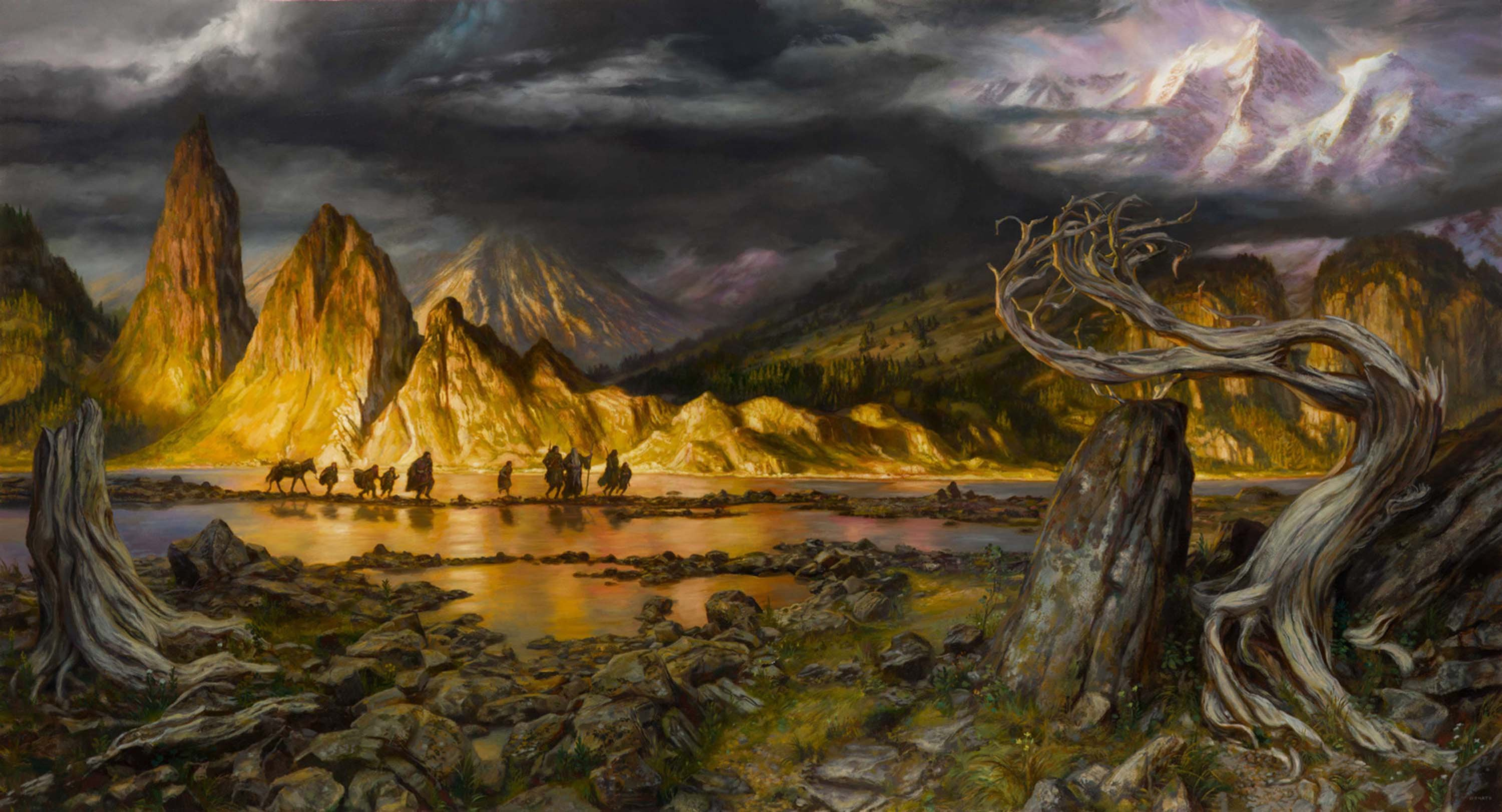 "The Fellowship in Hollin 34"" x 65""  Oil on Panel 2017 'only the stones remember the elves now.' original art available for purchase"