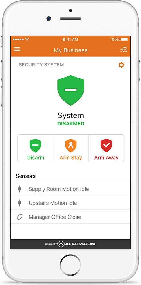 Business Security Arming on iPhone