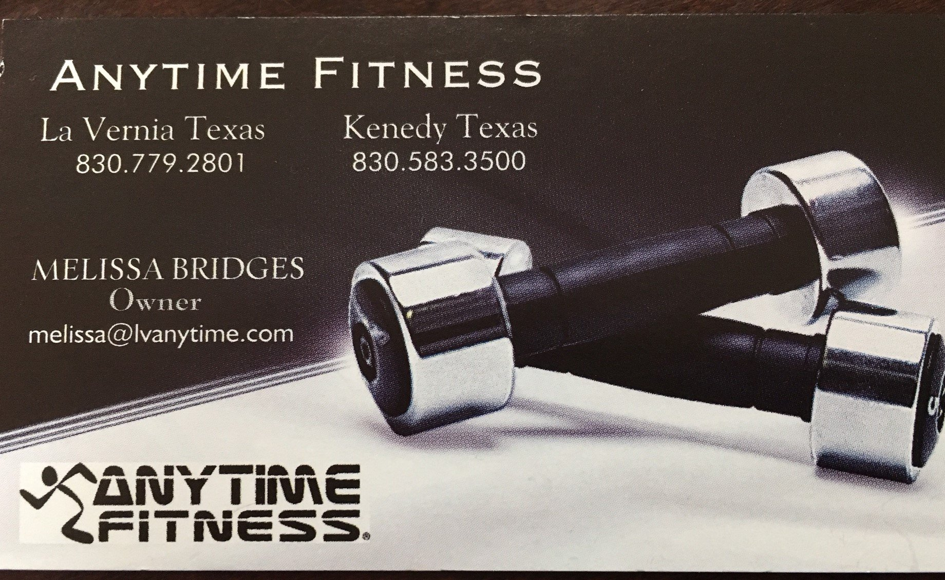 Anytime Fitness 131 Business Park Dr. Kenedy, TX 78119 830 583-3500