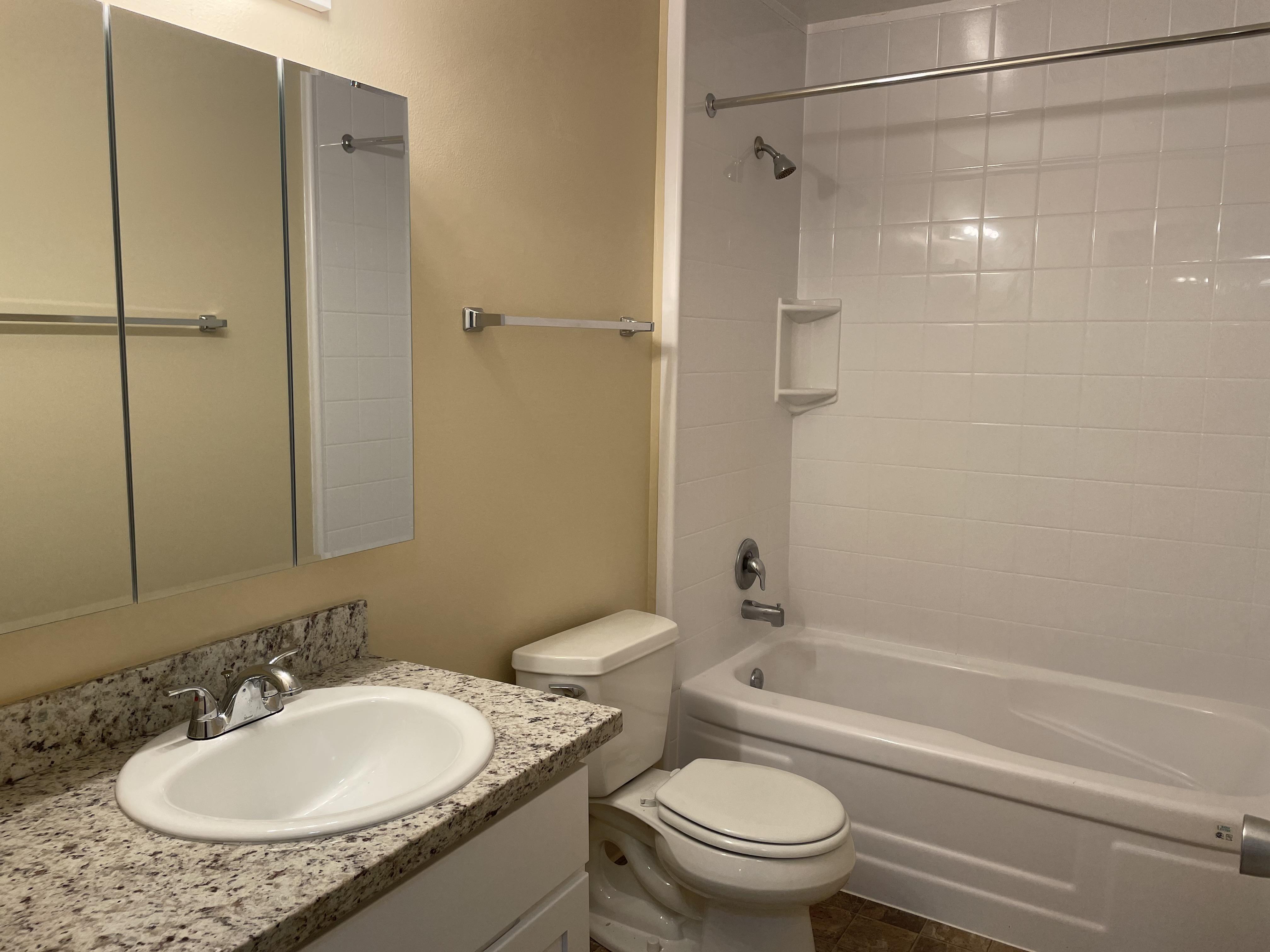 The bathroom has  a new: granite countertop, sink, cabinet, and medicine cabinet.