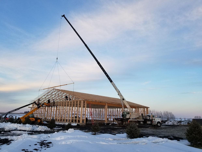 C&A-Crane-Setting-90-ft-Truss-on-Shop