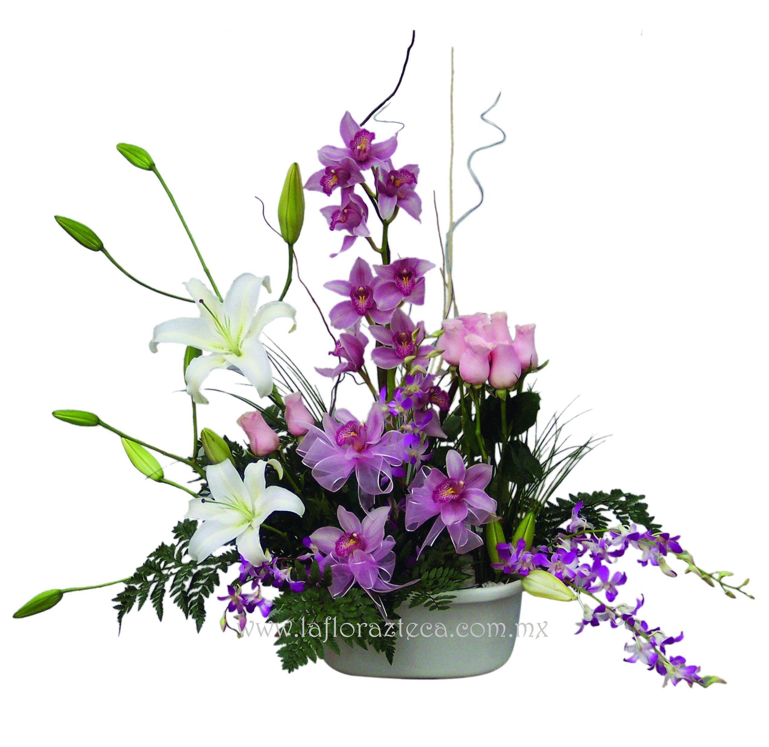 MD - 120  $2,380 Diseño con casablanca,rosas y dos variedades de orquídeas