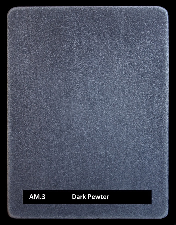 Pewter finish real applied metal coating by Artistic Metals. Sample AM.3 Dark Pewter.