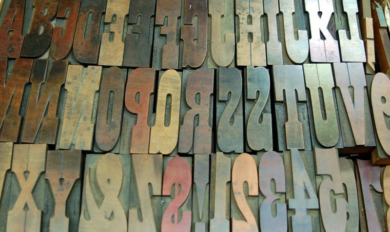 Antique wooden letter press alphabet set||||