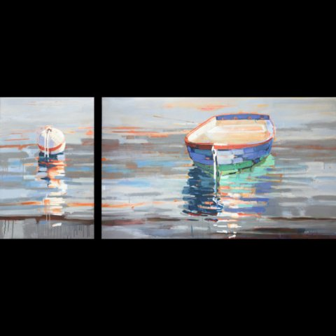 Quiet Time acrylic on canvas diptych 30x70 SOLD