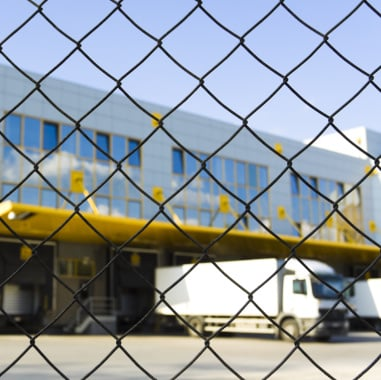 Fencing in front of logistic center