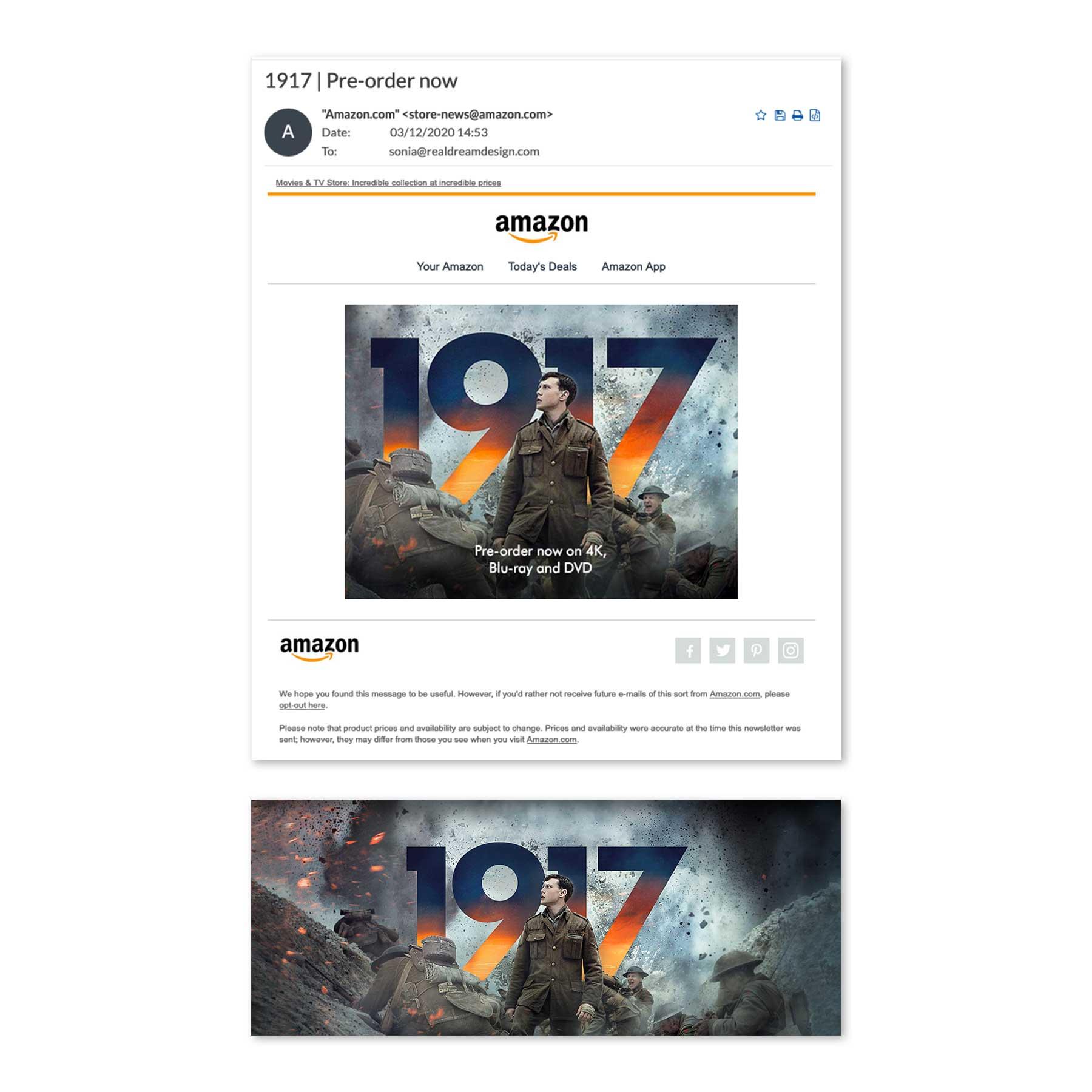 1917 Amazon Preorder Email Blast
