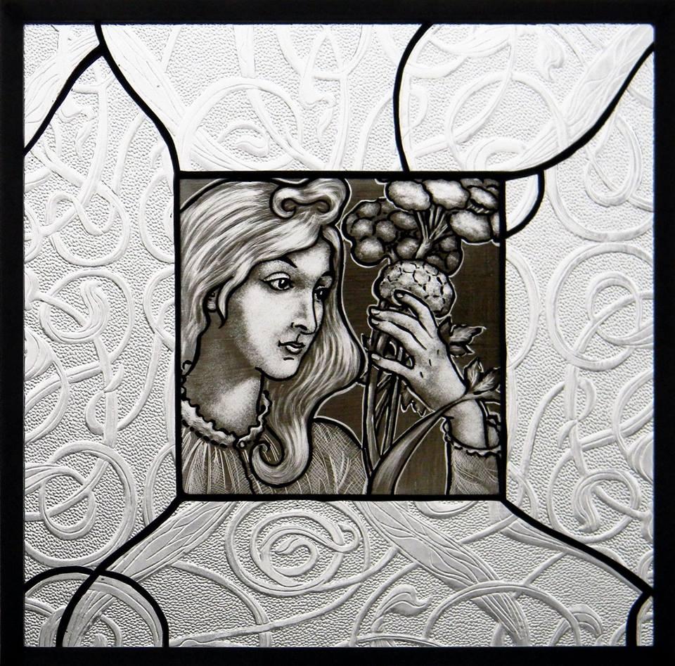 """""""Art Nouveau"""" by Nataliya Guchenia Glass Size - 13 1/2""""H X 13 1/2""""W $350.00"""