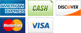 We accept American Express, Cash, Discover, MasterCard and Visa.||||