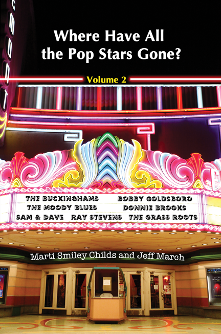 """Where Have All the Pop Stars Gone? Volume 2"" book cover, showing the names of performers on a colorful vintage theatre marquee"