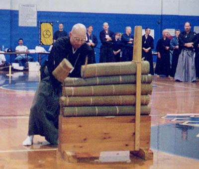 2nd Annual Orlando Taikai 2001. Orlando Battojutsu Competition -- Power Sensei takes First for kata and Third for cutting.