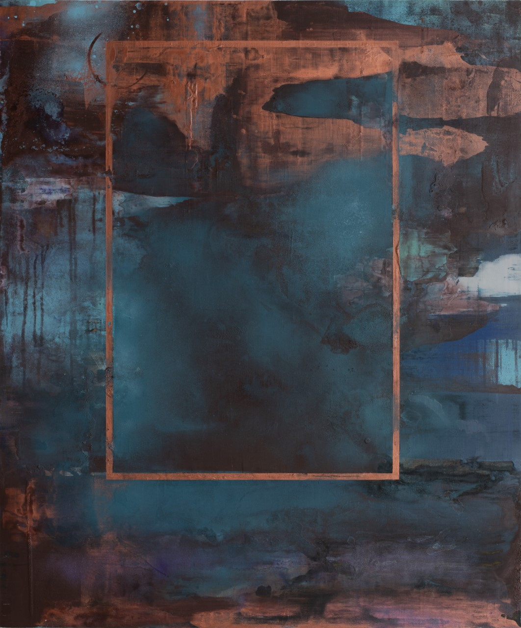 Ventana  de cobre De la serie Distressed Walls Acrílico, pigmentos y pintura en aérosol s/lino 120  x 100 cms.