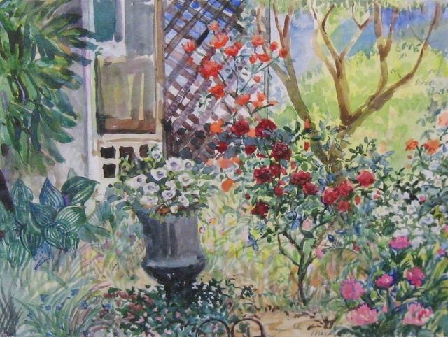 Taylor, A Capitol Garden, 11 x 16.5, Watercolor