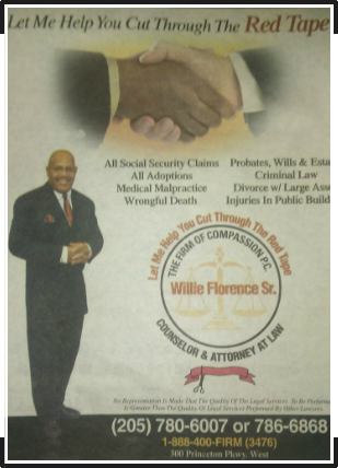 Attorney, Willie Florence Sr. Advertisement
